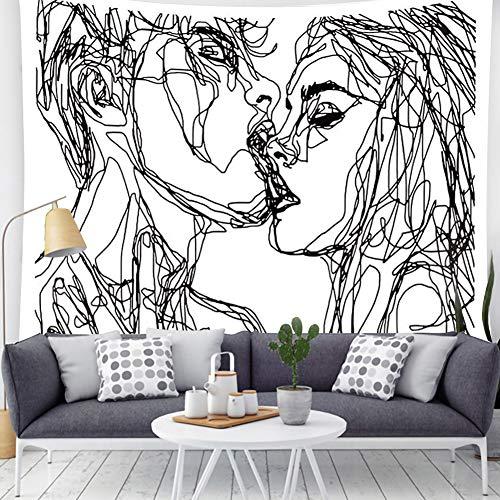 Kiss Tapestry Black White Tapestry Men Women Kissing Lovers Tapestry Line Art Aesthetic Tapestry Abstract Tapestry For Men Teen Girls And Bedroom Living Room Decor(59'L*51'W, Black White)
