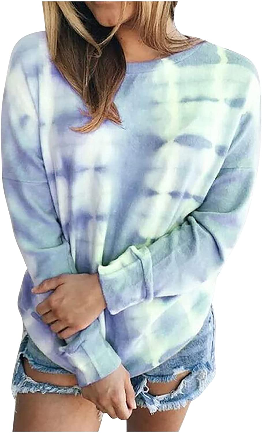 Crew Neck Sweatshirts for Women Tie Dye Pullovers Tops Baggy T Shirt for Fall Casual Long Sleeve Blouse