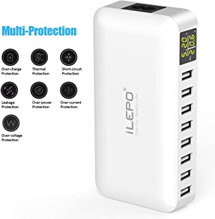 iLepo USB Charging Station 8-Port Charger Plug with LCD Display Voltage Meter Monitor 50W Max 8A Desktop Portable USB Wall...