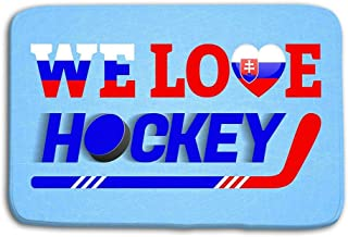 NEWPAI Doormat Indoor Outdoor Slovakia Ice Hockey Background Slovak Winter Sport Vector Illustration Love Poster Heart Symbol Tradition Colors Cloth mat