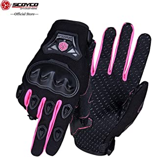 SCOYCO Woman Motorcycle Gloves Armor Breathable Female Glove Anti-skid MBX/MTB/ATV Sport Pink Dirt Bike Gloves (XL)