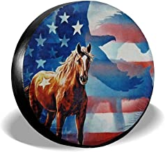 American Flag Eagle Horse Spare Tire Wheel Cover Waterproof Dust-Proof Universal Tire Covers - Jeep, Trailer, RV, SUV, Truck and Many Vehicles 14
