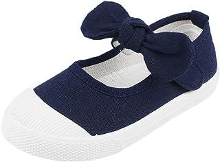 LACOFIA Chaussures Mary Jane Classiques Bowknot en Toile pour Fille Chaussures d'école pour Enfants