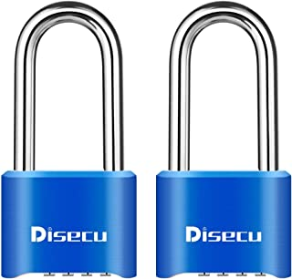 Disecu Heavy Duty 4 Digit Long Shackle Combination Lock and Outdoor Waterproof Padlock for Gym Locker, Gate, Cabinet, Tool...