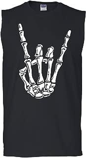 Tee Hunt Skeleton Hand Rock and Roll Muscle Shirt Bones Hardcore Metal Horns Sleeveless
