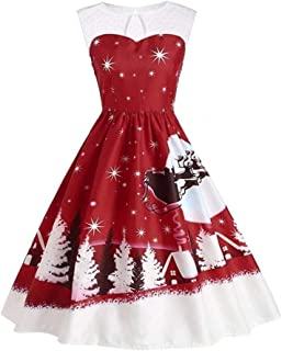Women's Vintage Christmas Dresses Clearance, Women Casual O-Neck Printed Sleeveless A-Line Swing Dress