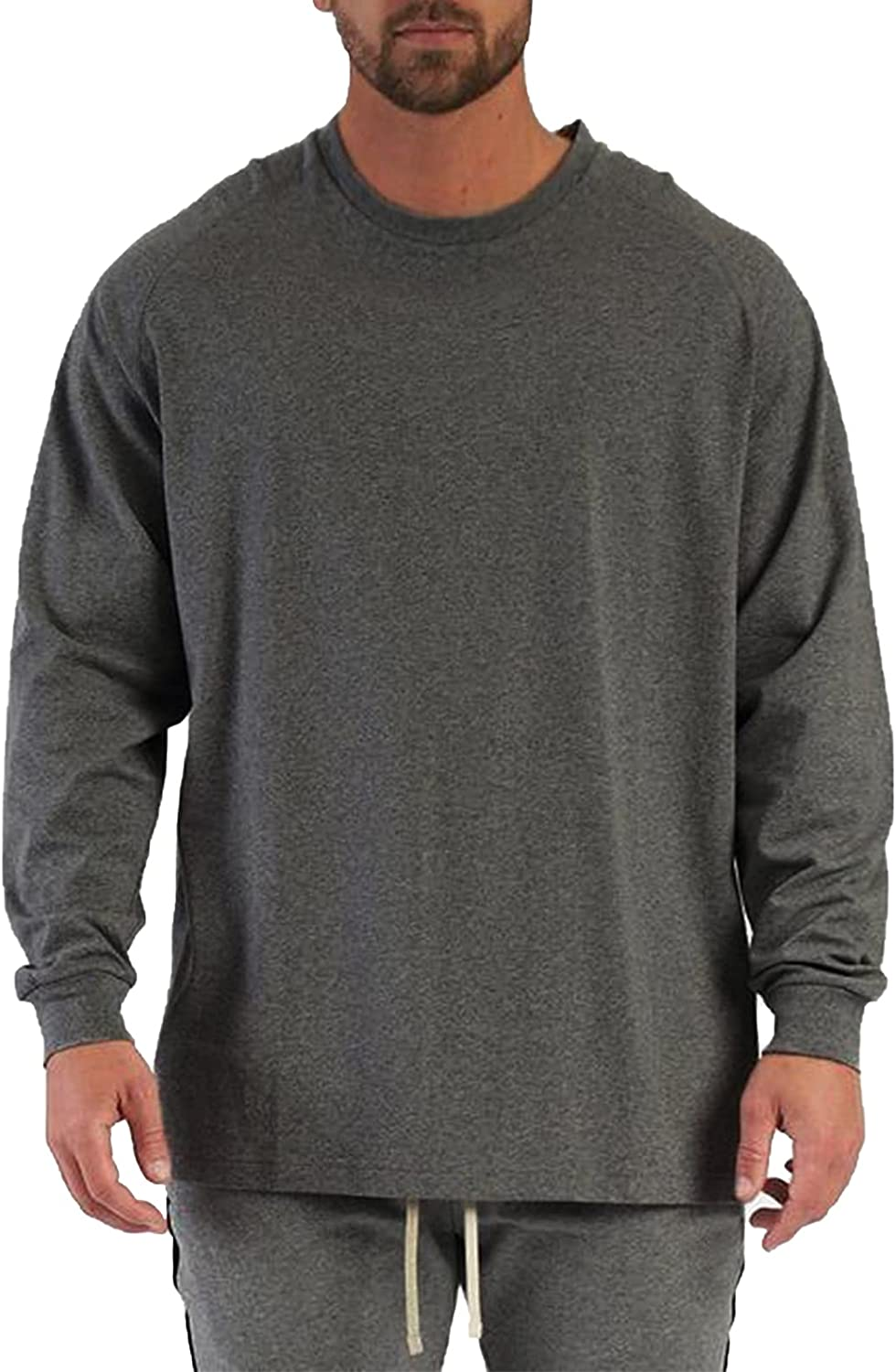 Men's Long Sleeve T-Shirt Classic Fit Tee Shirt Crew Neck Casual Athletic Cotton Tee