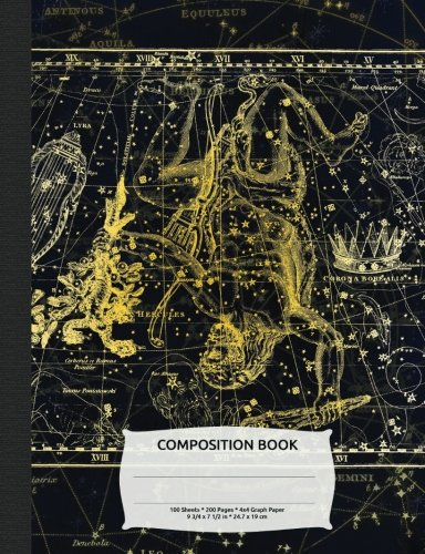 Outer Space Constellation Hercules Composition Book, Graph Paper: 4x4 Quad Rule Composition Book, Student Exercise Math Science Grid, 200 pages (Night Sky Astronomy Series)
