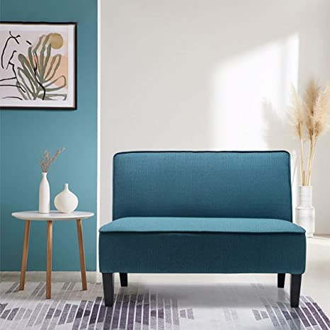Amazon Com Yongqiang Upholstered Loveseat Settee For Living Room Bedroom Dining Room Banquette Bench Linen Sofa Couch Blue Kitchen Dining