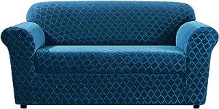 SureFit Stretch Grand Marrakesh 2-Piece - Loveseat Slipcover - Nile Blue