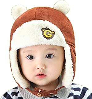 Toddlers Baby Girls and Boys Crochet Earflap Pilot Hats Beanie Cap Winter Warm Knit Caps for Fall Winter