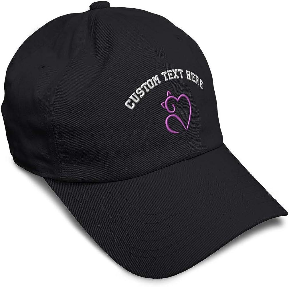 Custom Soft Baseball Cap Cat Heart Lavender Embroidery Dad Hats for Men /& Women