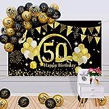 APERIL 50 Años Decoración de Cumpleaños Oro Negro, Globos de Cumpleaños Hombre Mujer, Póster de Tela Globos Negros Oro Globos de Confeti para 50 Feliz Cumpleaños Pancarta de Fondo 50 Cumpleaños