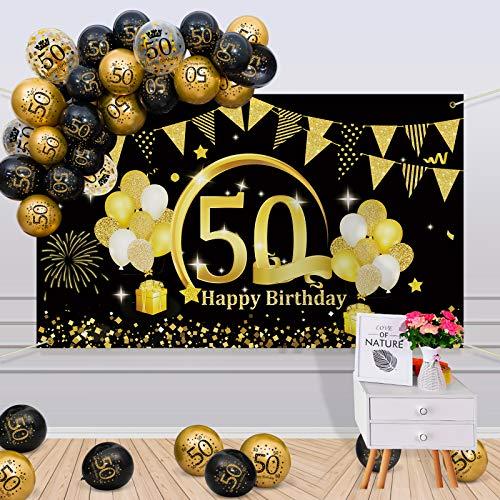 APERIL 50 Decorazioni Compleanno Oro Nero, 50 Anni Palloncini Compleanno per Uomo Donna, Poster di Tessuto Sfondo Fotografico 50° Festoni Compleanno Feste di Compleanno 50 Anni di Buon Compleanno