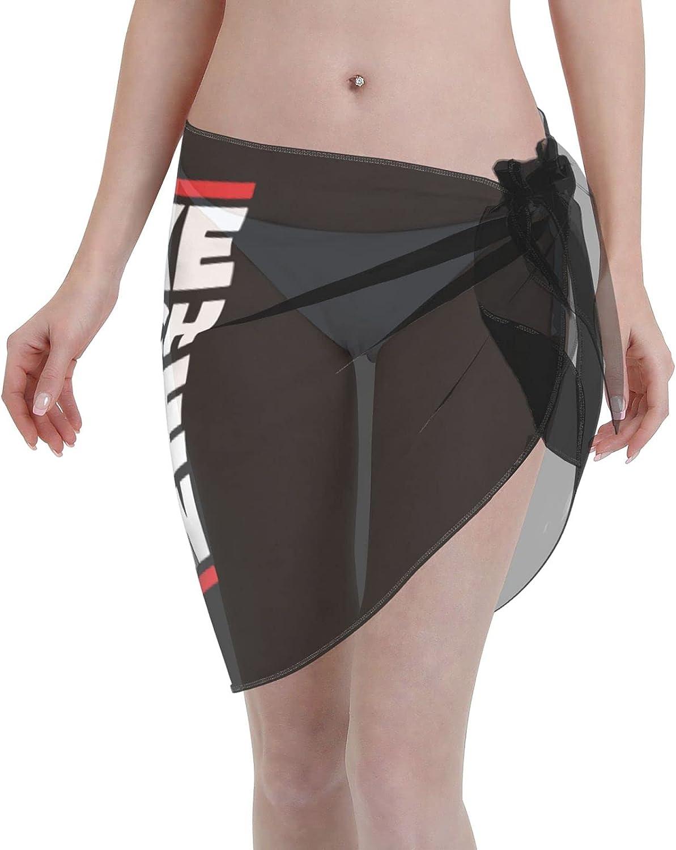 Make Speech Free Again Women Short Sarongs Beach Wrap Sheer Bikini Wraps Chiffon Cover Ups for Swimwear Sexy Wrap Around Dress Black