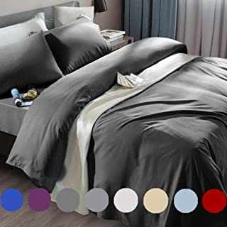SONORO KATE Bed Sheet Set Super Soft Microfiber 1800 Thread Count Luxury Egyptian Sheets Fit 18-24 Inch Deep Pocket Mattress Wrinkle and Hypoallergenic-6 Piece (Dark Grey, King)