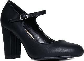 Skippy Mary Jane - Cute Round Toe Comfortable Chunky Block Pumps Heels