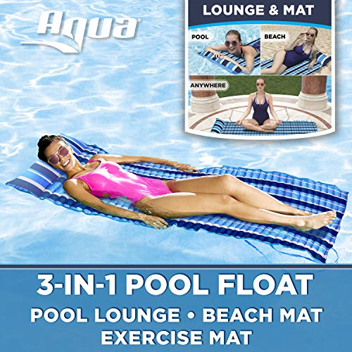 Aqua 3-In-1 Roll-Up Pool Float, Padded Mat For Beach-Land-Water, Roll-Up Mat with Carry Strap,...