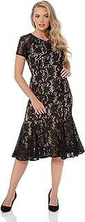 Women Flute Hem Lace Dress