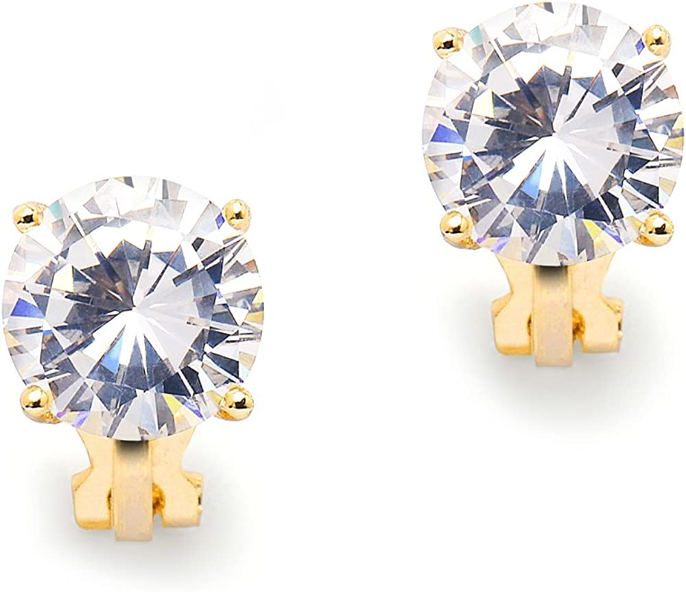 Mariell 3 Carat CZ Clip-On Earrings - 9.5mm Round Solitaire 14K Gold Plated Cubic Zirconia Clip Studs