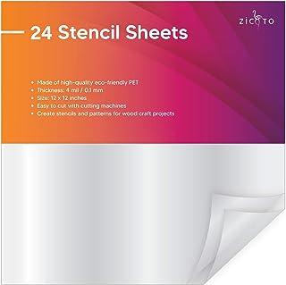 "Easy Cut Stencil Sheet Set of 24 - 12""x12"" Acetate Mylar for Cricut Vinyl Cutting – Craft Material"