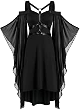 Women Punk Style Dress Gothic Cool Criss Cross Lace Insert Butterfly Sleeve Off Shoulder Solid Color Plus Size Patchwork High Low Dress Halloween Cosplay Party