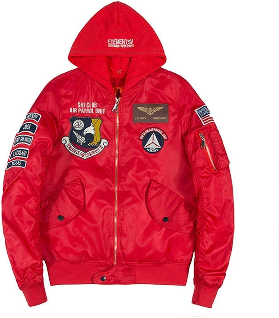 YtoaBmebqsu Bomber Jacket Men Badge Air Pilot Hooded Thin MA-1 Mens Jacket Hip Hop Fashion Outwear Men Coat Bomb Jackets
