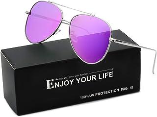 SODQW Gafas de Sol Aviador Mujer Polarizadas Espejo Clásico Ligero Metal Para Conducir Protección 100% UVA/UVB
