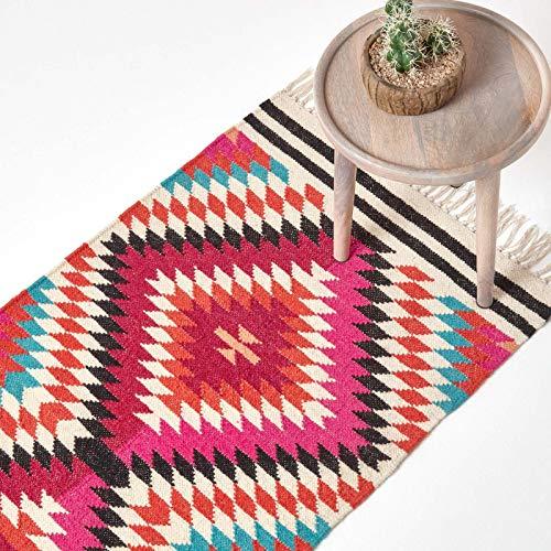 Homescapes Kelim-Teppichläufer Manila, handgewebt aus Wolle/Baumwolle, 66 x 200 cm, bunter...
