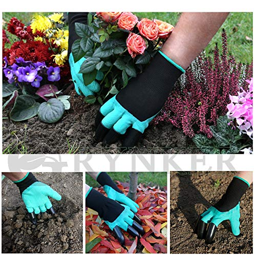 GRYNKER Garden Gloves with Claws for Digging - 2 Pairs Size S-M - Waterproof, for Planting, Weeding, Seeding, Gardening, Gift for Women and Men - Green Genie