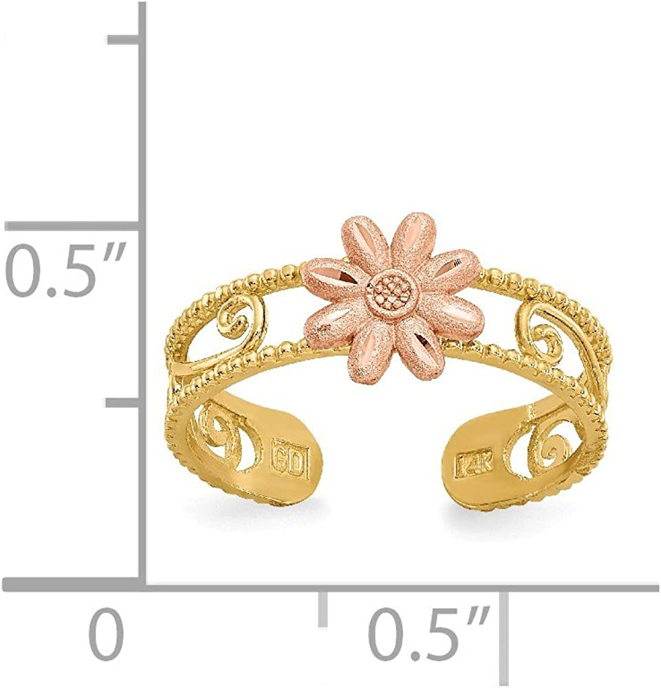 14k Yellow Gold Two Tone Flower Adjustable Cute Toe Ring Set Fine Jewelry For Women Gifts For Her