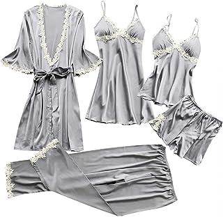 riou Damas de Invierno Pijamas de Encaje Sexy camisón Kimono Cardigan túnicas Vestido de Noche Superior de satén de Dos Pi...