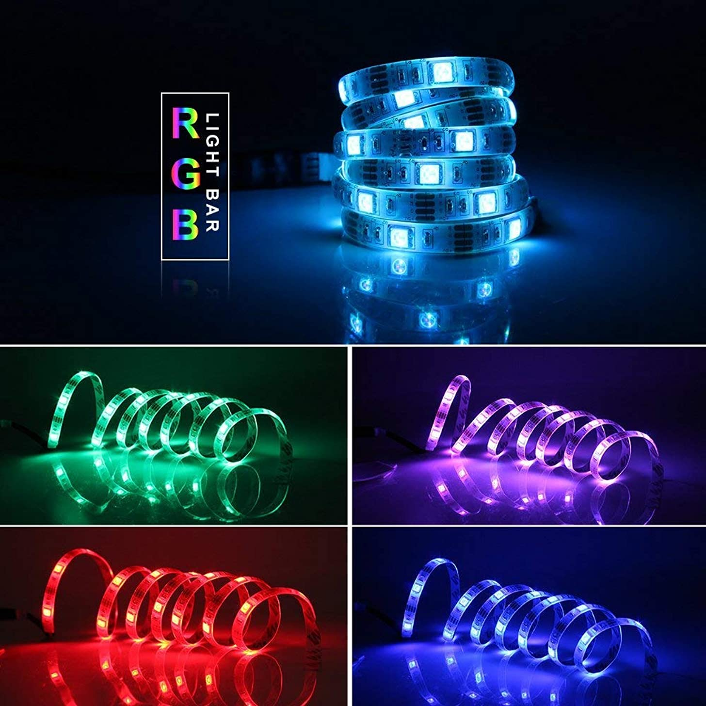 GOESWELL Led Strip Light 5050 30LEDs RGB Battery Powered Color Change SMD Led Strip 1M/3.3FT with Mini Controlle