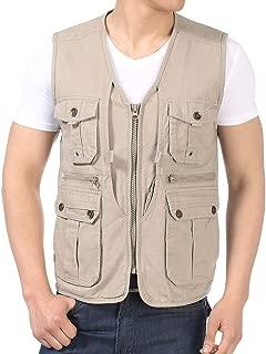 XXT Pocket Vest Cotton Men's Spring and Autumn Thin Section Sports and Leisure Multi-Pocket Vest Practicality (Color : Beige, Size : 4XL)