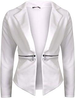Rimi Hanger Womens Waffle Fabric Waterfall Blazer Jacket Ladies Long Sleeve Zip Jacket Top S/