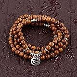 DALIU Cuentas de Madera Multicapa Buda Lotus OM Pulsera tibetana Budista Mala Encanto Rosario Pulsera Yoga Madera para Mujeres Hombres joyería