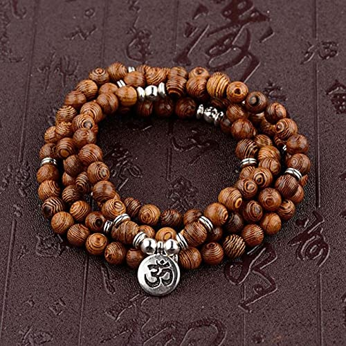 DALIU Cuentas de Madera Multicapa Buda Lotus OM Pulsera tibetana Budista Mala Encanto Rosario Pulsera Yoga Madera...