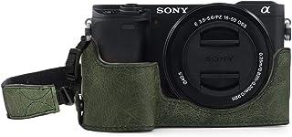 MegaGear MG1644 någonsin redo äkta läder kamera halvfodral kompatibel med Sony Alpha A6100, A6400 – grön