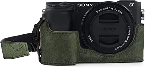 MegaGear Ever Ready Genuine Leather Camera Half Case Compatible with Sony Alpha A6100, A6400
