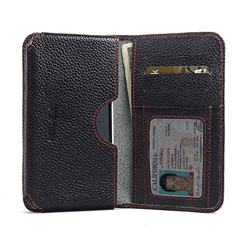 PDAir HTC Desire 530 Leder Brieftasche Folio Handy Hülle (Schwarzes Kieselleder/roter Stich), Echtleder Brieftasche Hülle, Kreditkarte Brieftasche Hülle für HTC Desire 530 630