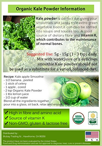 Kale Powder Organic 1 lb. 100% Pure Non-GMO Superfood