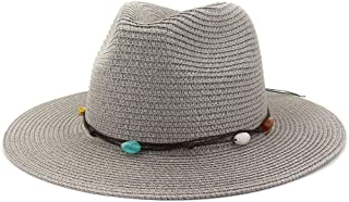 Handmade Knitted Patchwork Straw Hat for Women Summer Hats Elegant Ladies Wide Brim Floppy Foldable Beach Sun Hat Caps` TuanTuan (Color : Gray, Size : 56-58CM)