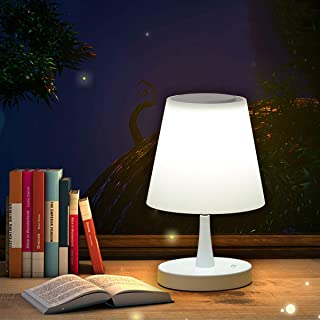 UDO White Bedside Touch Table Lamp with Morden PC Plastic and Adjustable Control Bright for Bedroom Nightstand and Small Primitive Desk Reading