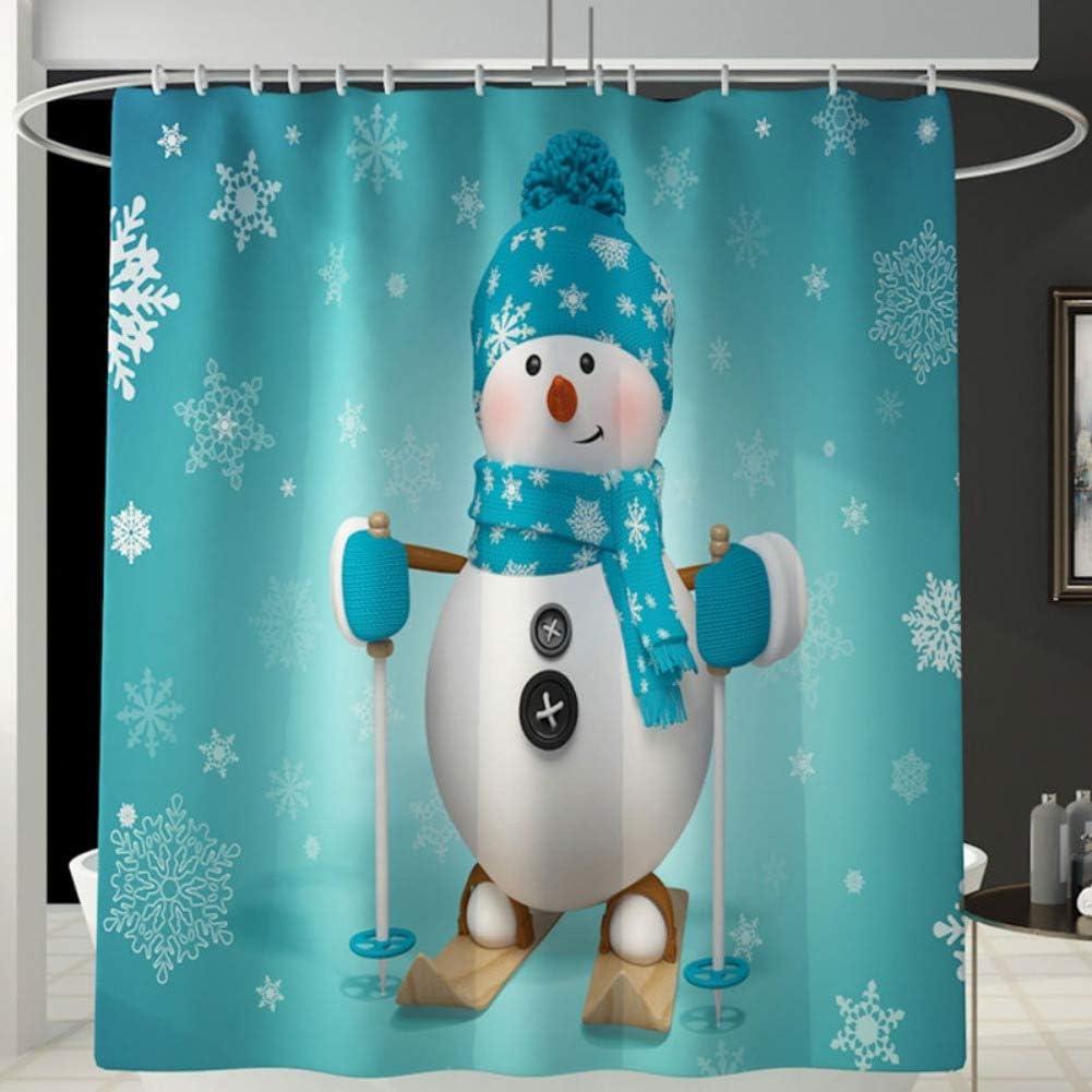 Santa Claus Snowman Christmas Gift Shower Curtain Bathroom Rug Toilet Decorative