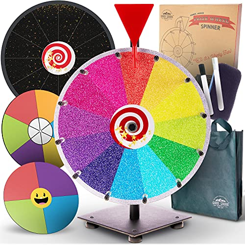 Spinning Prize Wheel Spinner Game - 12' Spin the Wheel Game with Stand Dry Erase Spinning Wheel for Prizes Tabletop 12 6 4 slot Color Black Spin Wheels & Accessories & Bag Wheel Fortune Raffle Mystery