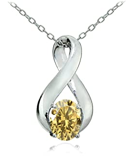 Sterling Silver Genuine or Created Gemstone Polished Infinity Pendant Necklace