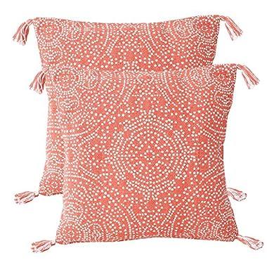 Thro by Marlo Lorenz Th013602004Pk2E Decorative Pillow 2 Pack, Coral Quartz Bright White