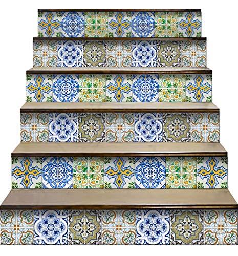 Mi Alma Calcomanías para azulejos de pared para escaleras, diseño mexicano, talavera, decoración del hogar y escaleras, 17,7 cm de ancho x 17,8 cm de largo (juego de 24) (casa de atcha)