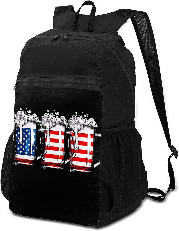 Selling Beer American Flag Lightweight Packable O Men Backpack Women Great interest for