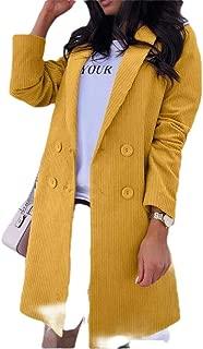 Macondoo Women Warm Double-Breasted Windbreaker Outwear Lapel Trench Coat